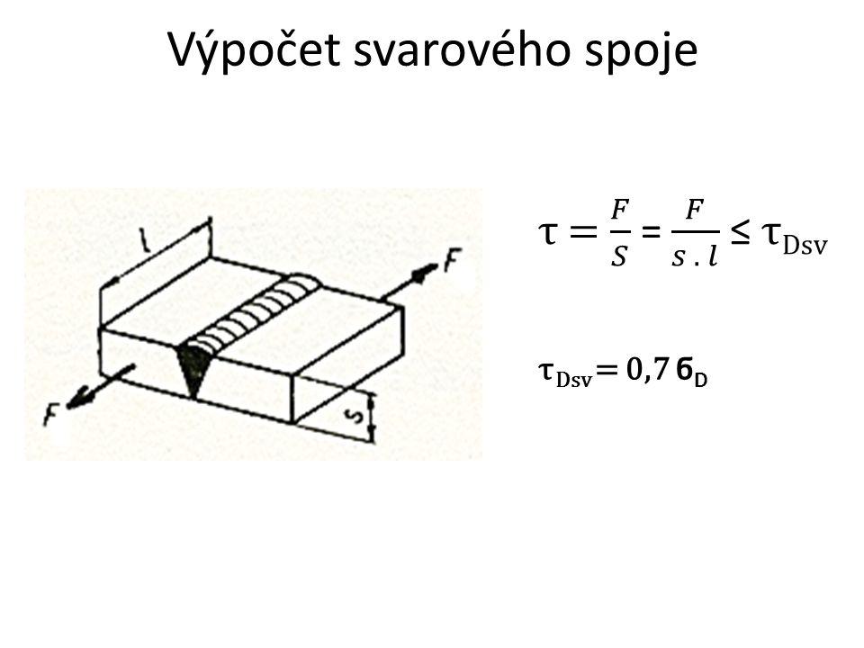 Výpočet svarového spoje τ Dsv = 0,7 ϭ D