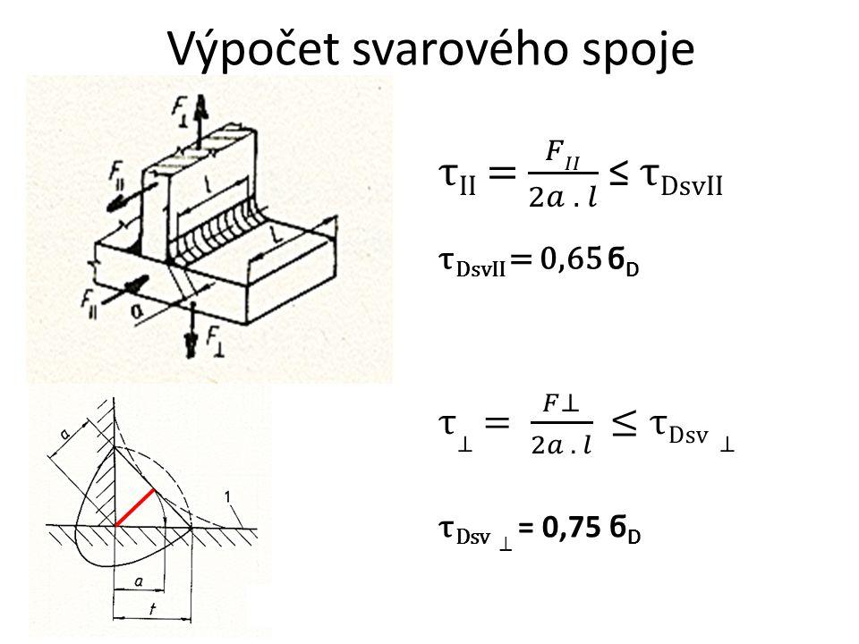 Výpočet svarového spoje τ DsvII = 0,65 ϭ D