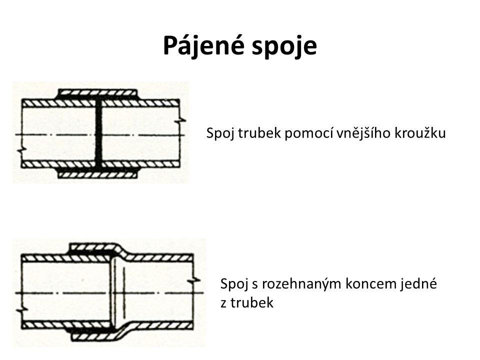 Pájené spoje Spoj trubek pomocí vnějšího kroužku Spoj s rozehnaným koncem jedné z trubek