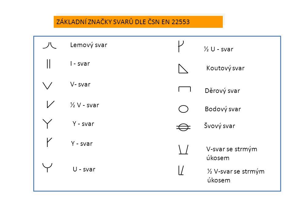ZÁKLADNÍ ZNAČKY SVARŮ DLE ČSN EN 22553 Lemový svar I - svar V- svar ½ V - svar Y - svar U - svar ½ U - svar Koutový svar Děrový svar Bodový svar Švový
