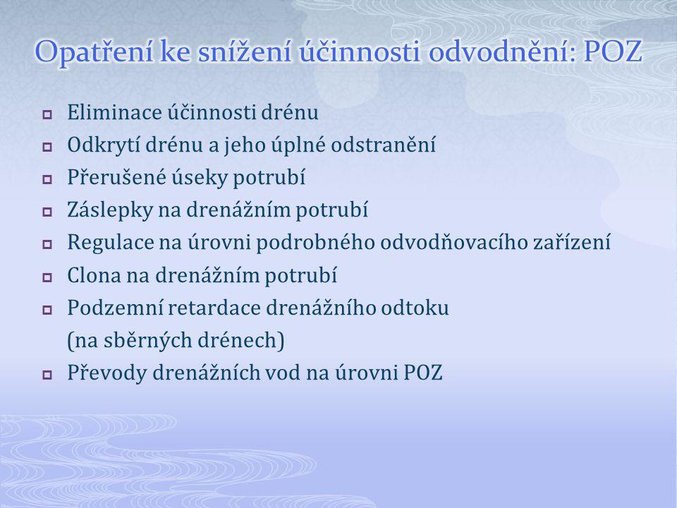  Eliminace účinnosti drénu  Odkrytí drénu a jeho úplné odstranění  Přerušené úseky potrubí  Záslepky na drenážním potrubí  Regulace na úrovni podrobného odvodňovacího zařízení  Clona na drenážním potrubí  Podzemní retardace drenážního odtoku (na sběrných drénech)  Převody drenážních vod na úrovni POZ