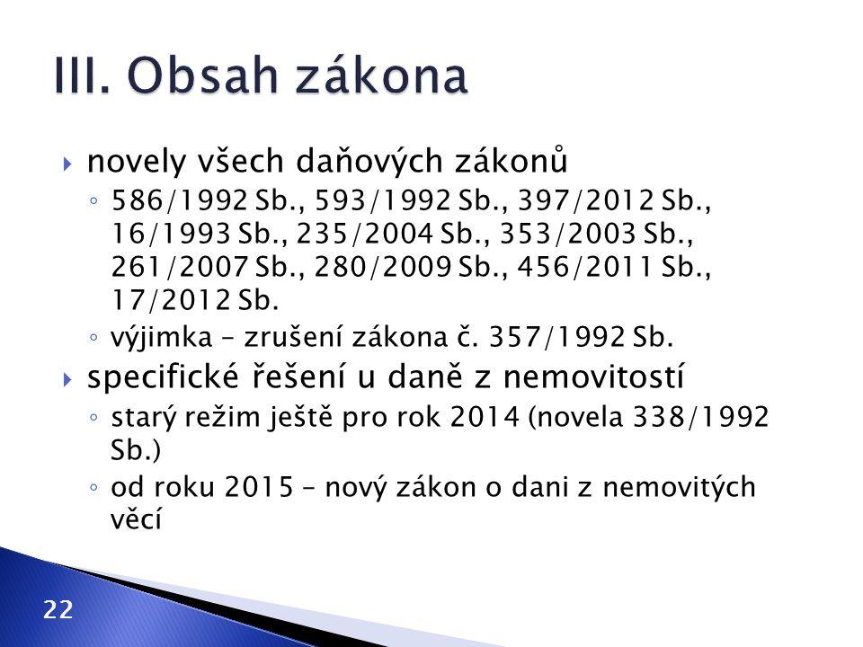  novely všech daňových zákonů ◦ 586/1992 Sb., 593/1992 Sb., 397/2012 Sb., 16/1993 Sb., 235/2004 Sb., 353/2003 Sb., 261/2007 Sb., 280/2009 Sb., 456/20