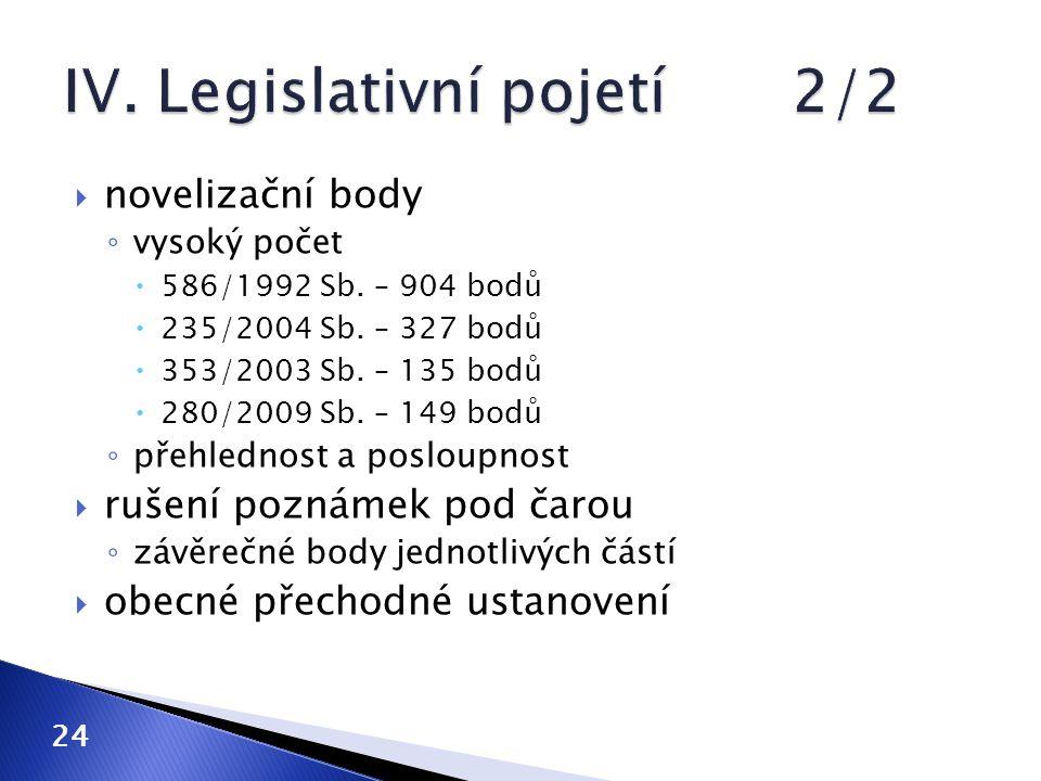  novelizační body ◦ vysoký počet  586/1992 Sb. – 904 bodů  235/2004 Sb. – 327 bodů  353/2003 Sb. – 135 bodů  280/2009 Sb. – 149 bodů ◦ přehlednos