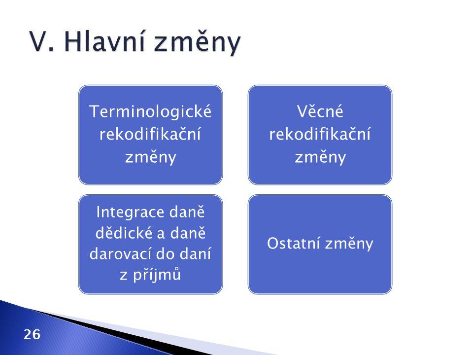 Terminologické rekodifikační změny Integrace daně dědické a daně darovací do daní z příjmů Věcné rekodifikační změny Ostatní změny 26