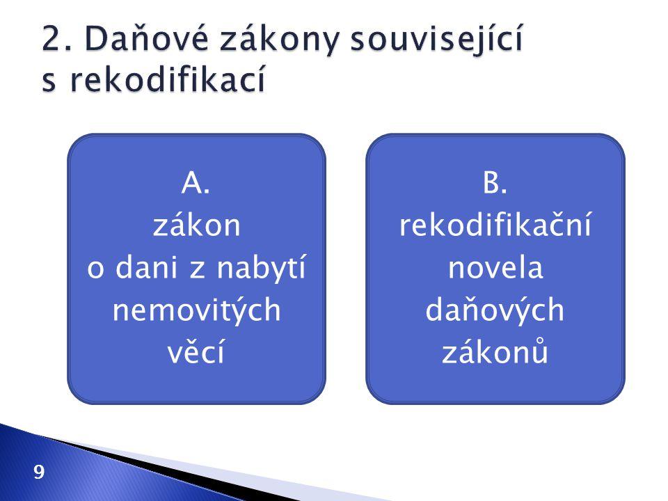 A. zákon o dani z nabytí nemovitých věcí B. rekodifikační novela daňových zákonů 9