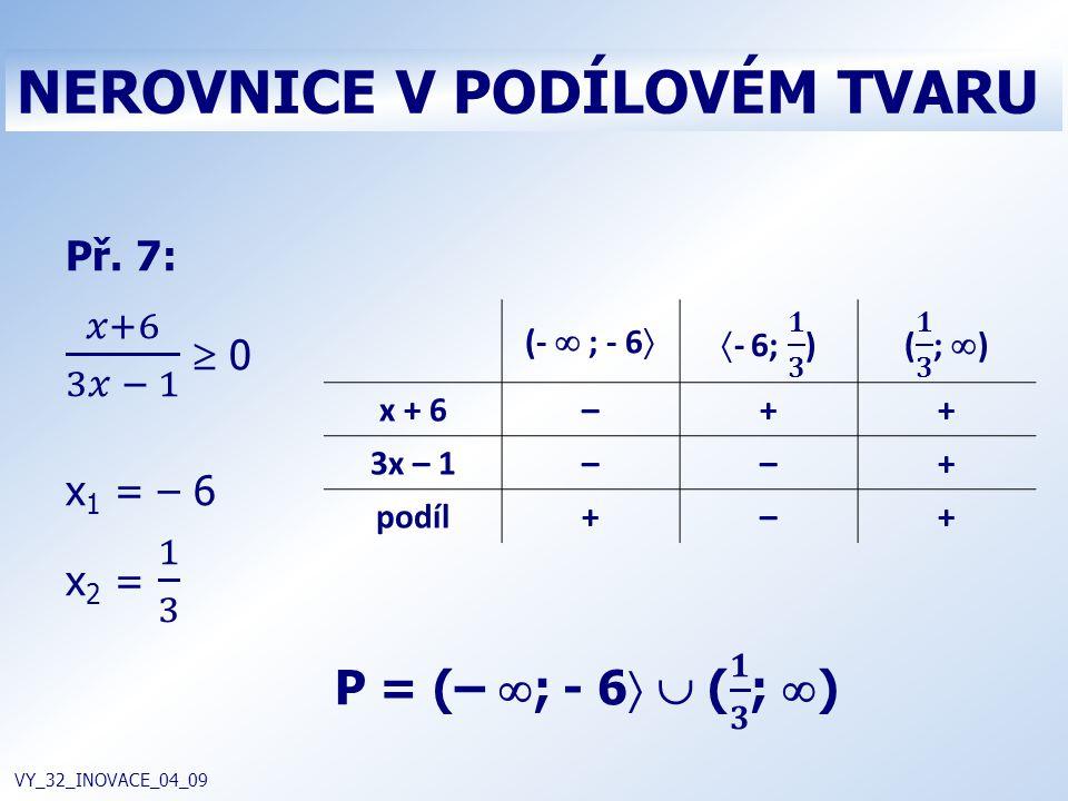 NEROVNICE V PODÍLOVÉM TVARU VY_32_INOVACE_04_09 (-  ; - 6  x + 6–++ 3x – 1––+ podíl+–+
