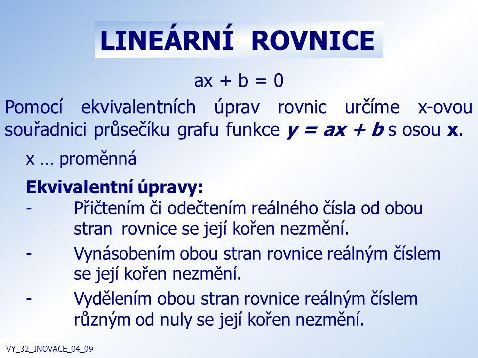 LINEÁRNÍ ROVNICE VY_32_INOVACE_04_09 ax + b = 0 Pomocí ekvivalentních úprav rovnic určíme x-ovou souřadnici průsečíku grafu funkce y = ax + b s osou x