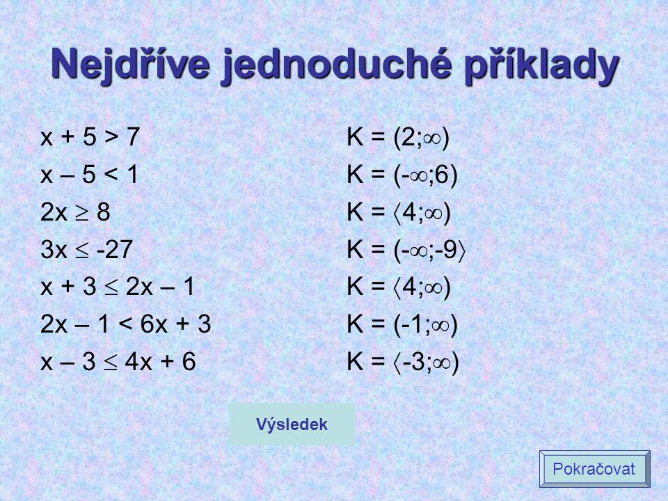 Nejdříve jednoduché příklady x + 5 > 7 x – 5 < 1 2x  8 3x  -27 x + 3  2x – 1 2x – 1 < 6x + 3 x – 3  4x + 6 K = (2;  ) K = (-  ;6) K =  4;  ) K = (-  ;-9  K =  4;  ) K = (-1;  ) K =  -3;  ) Výsledek Pokračovat