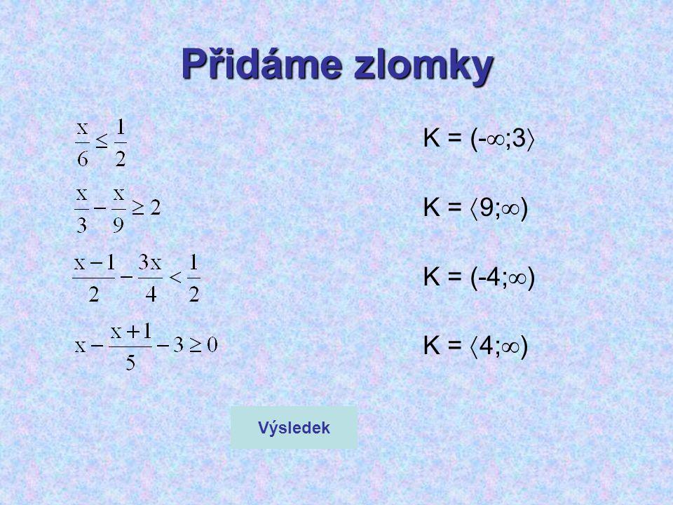 Přidáme zlomky K = (-  ;3  K =  9;  ) K = (-4;  ) K =  4;  ) Výsledek