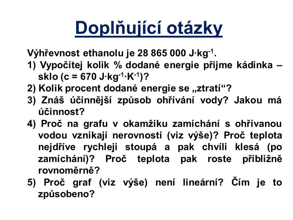 Výhřevnost ethanolu je 28 865 000 J·kg -1. 1) Vypočítej kolik % dodané energie přijme kádinka – sklo (c = 670 J·kg -1 ·K -1 )? 2) Kolik procent dodané