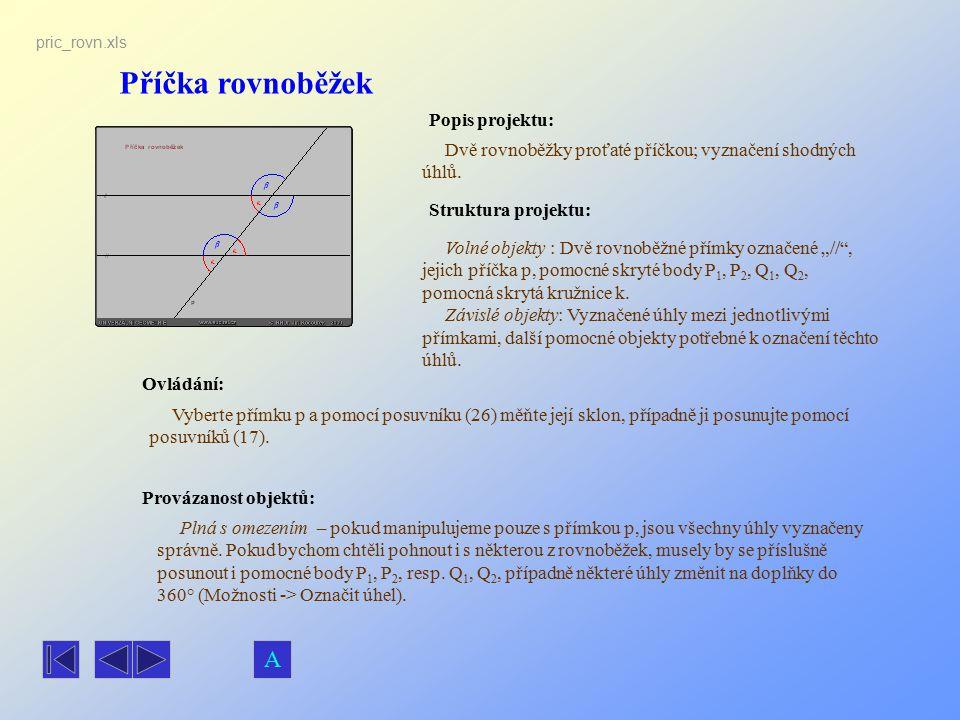 """Příčka rovnoběžek Popis projektu: Dvě rovnoběžky proťaté příčkou; vyznačení shodných úhlů. Ovládání: Volné objekty : Dvě rovnoběžné přímky označené """"/"""