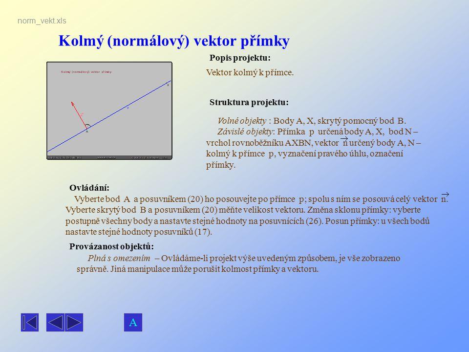 Kolmý (normálový) vektor přímky Popis projektu: Ovládání: Struktura projektu: Provázanost objektů: norm_vekt.xls Vektor kolmý k přímce. Volné objekty