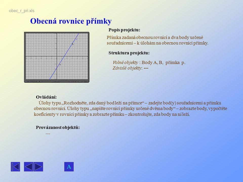 Obecná rovnice přímky Popis projektu: Ovládání: Struktura projektu: Provázanost objektů: obec_r_pri.xls Přímka zadaná obecnou rovnicí a dva body určen