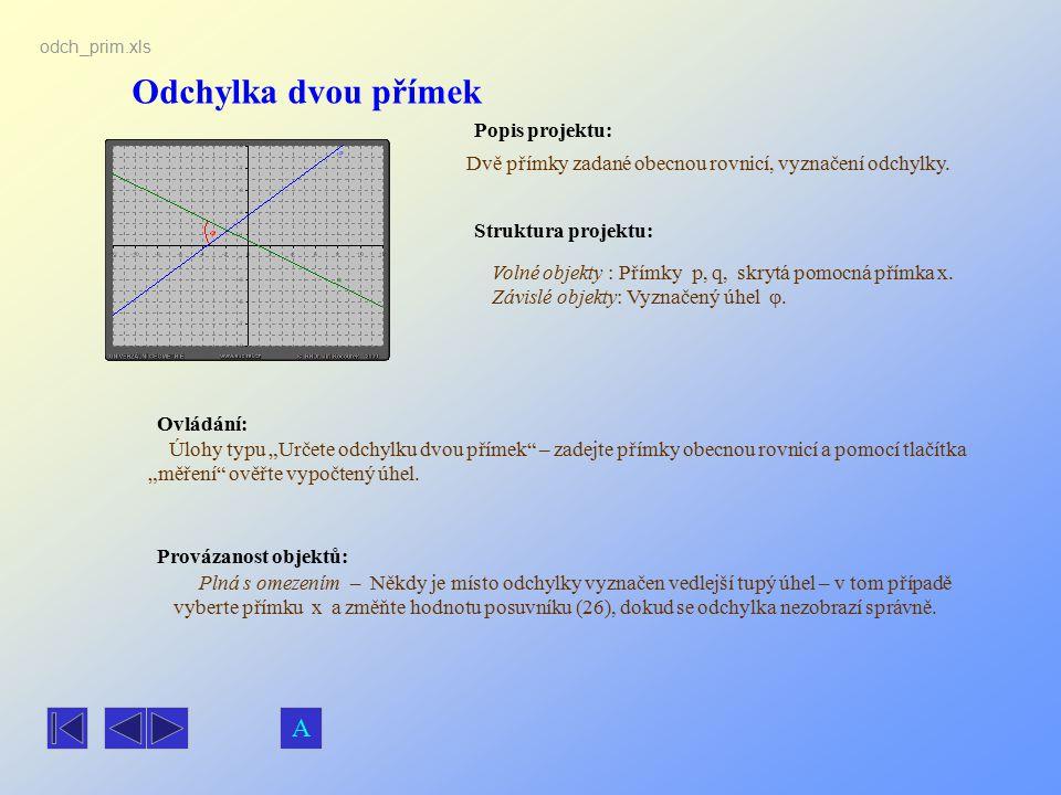 Odchylka dvou přímek Popis projektu: Ovládání: Struktura projektu: Provázanost objektů: odch_prim.xls Dvě přímky zadané obecnou rovnicí, vyznačení odc