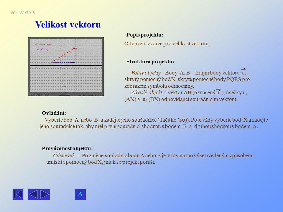 Velikost vektoru Popis projektu: Ovládání: Struktura projektu: Provázanost objektů: vel_vekt.xls Odvození vzorce pro velikost vektoru. Volné objekty :