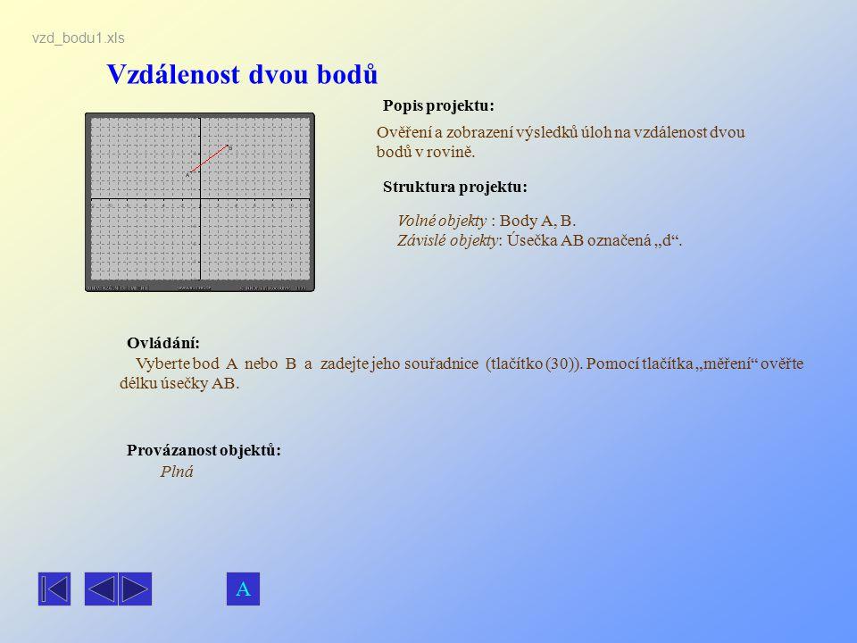 Vzdálenost dvou bodů Popis projektu: Ovládání: Struktura projektu: Provázanost objektů: vzd_bodu1.xls Ověření a zobrazení výsledků úloh na vzdálenost