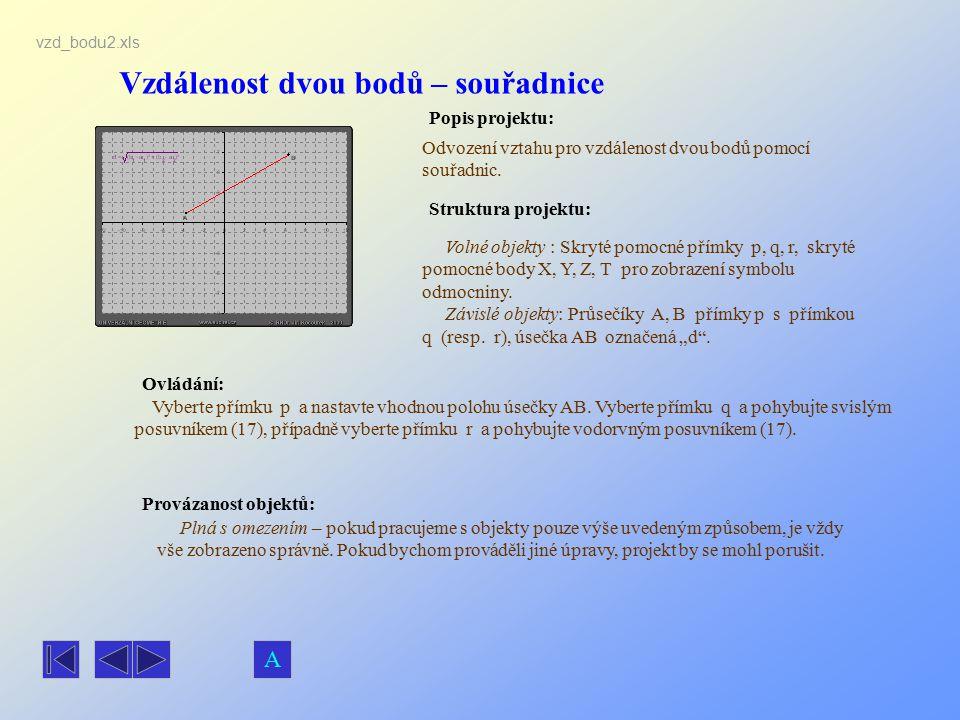 Vzdálenost dvou bodů – souřadnice Popis projektu: Ovládání: Struktura projektu: Provázanost objektů: vzd_bodu2.xls Odvození vztahu pro vzdálenost dvou