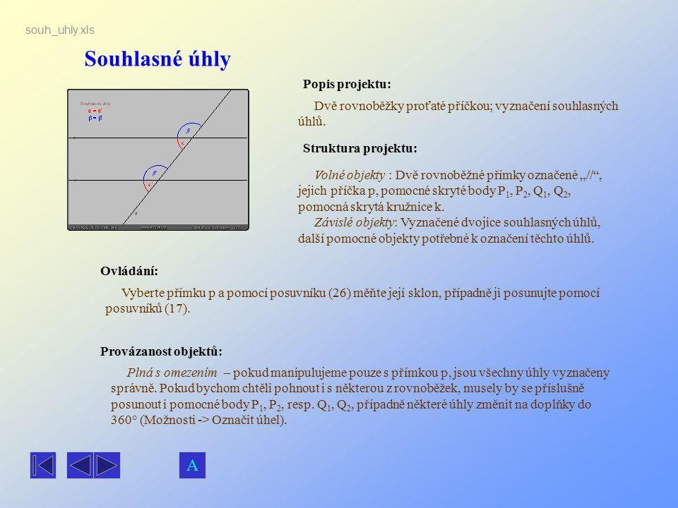Souhlasné úhly Popis projektu: Dvě rovnoběžky proťaté příčkou; vyznačení souhlasných úhlů. Ovládání: Vyberte přímku p a pomocí posuvníku (26) měňte je