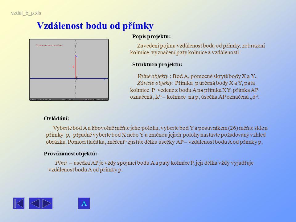 Vzdálenost bodu od přímky Popis projektu: Zavedení pojmu vzdálenost bodu od přímky, zobrazení kolmice, vyznačení paty kolmice a vzdálenosti. Ovládání: