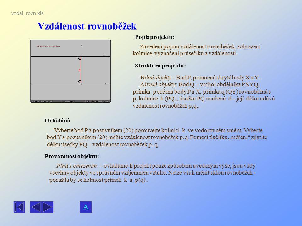 Vzdálenost rovnoběžek Popis projektu: Zavedení pojmu vzdálenost rovnoběžek, zobrazení kolmice, vyznačení průsečíků a vzdálenosti. Ovládání: Vyberte bo