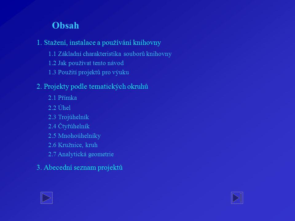 Obsah 1. Stažení, instalace a používání knihovny 2. Projekty podle tematických okruhů 2.1 Přímka 2.2 Úhel 2.3 Trojúhelník 2.4 Čtyřúhelník 2.5 Mnohoúhe