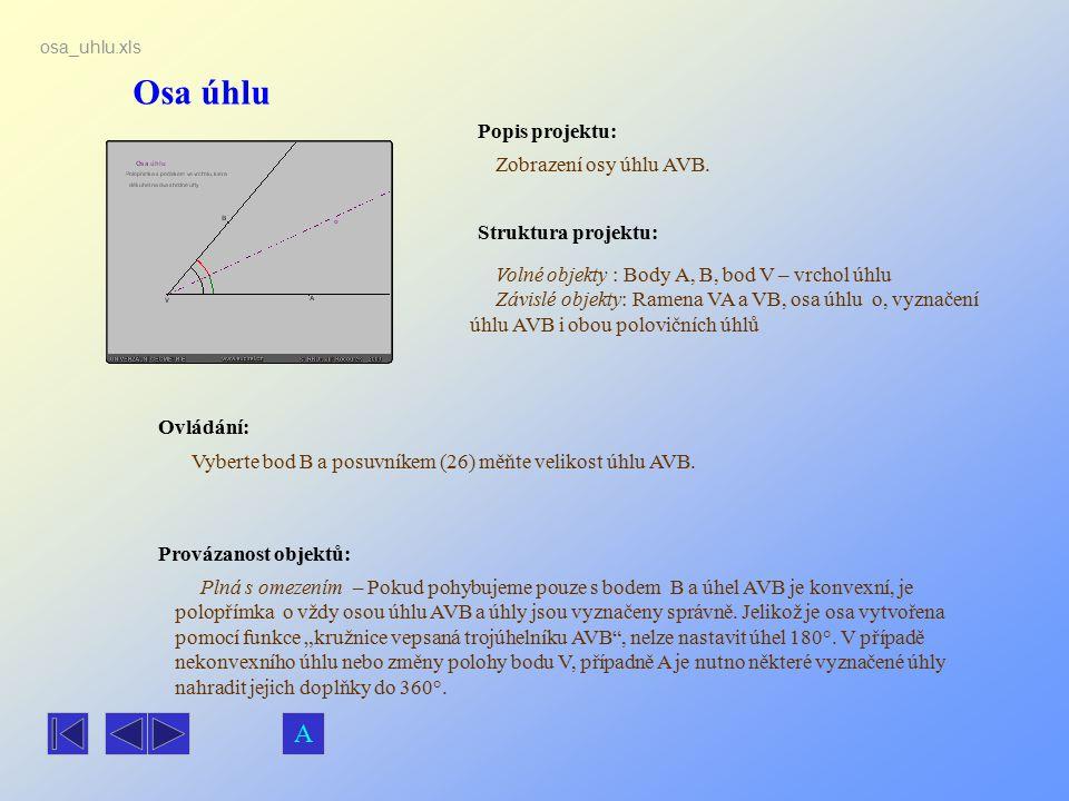 Osa úhlu Popis projektu: Zobrazení osy úhlu AVB. Ovládání: Vyberte bod B a posuvníkem (26) měňte velikost úhlu AVB. Volné objekty : Body A, B, bod V –