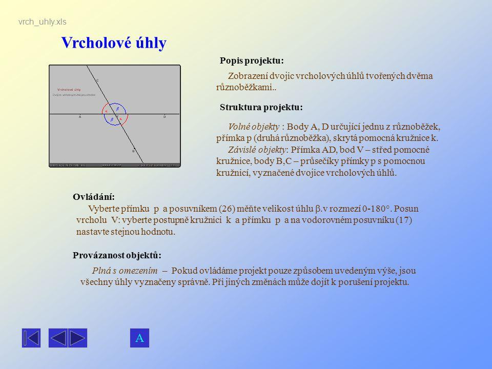 Vrcholové úhly Popis projektu: Zobrazení dvojic vrcholových úhlů tvořených dvěma různoběžkami.. Ovládání: Vyberte přímku p a posuvníkem (26) měňte vel