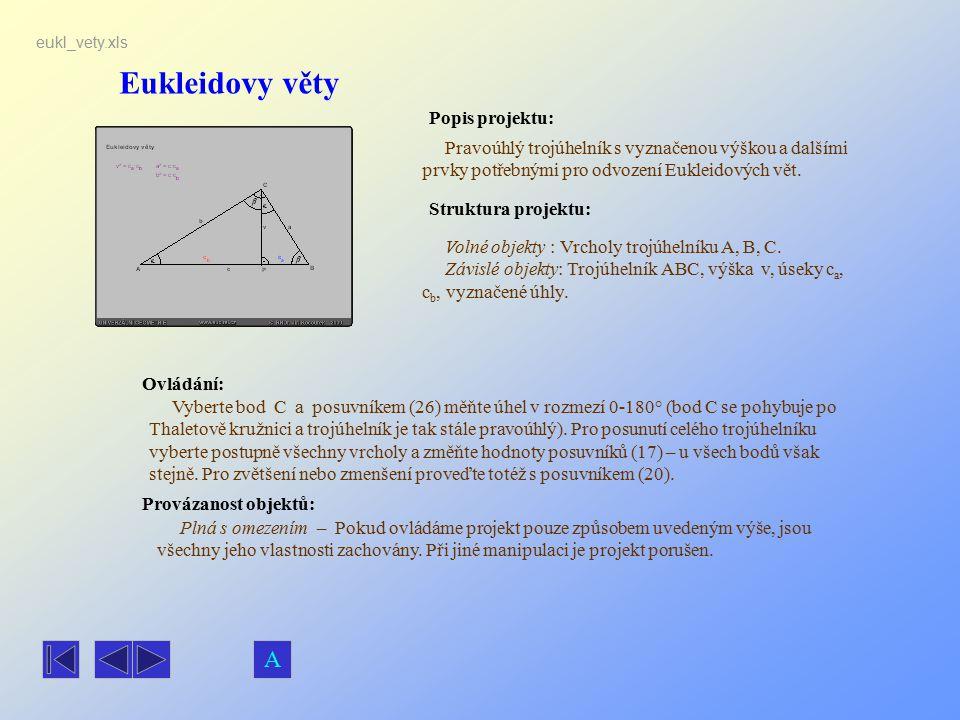 Eukleidovy věty Popis projektu: Pravoúhlý trojúhelník s vyznačenou výškou a dalšími prvky potřebnými pro odvození Eukleidových vět. Ovládání: Vyberte