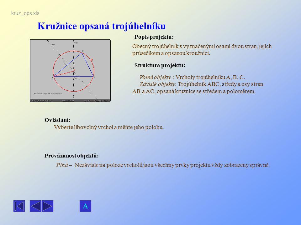 Kružnice opsaná trojúhelníku Popis projektu: Obecný trojúhelník s vyznačenými osami dvou stran, jejich průsečíkem a opsanou kroužnicí. Ovládání: Vyber