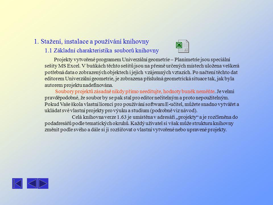 1. Stažení, instalace a používání knihovny 1.1 Základní charakteristika souborů knihovny Projekty vytvořené programem Univerzální geometrie – Planimet