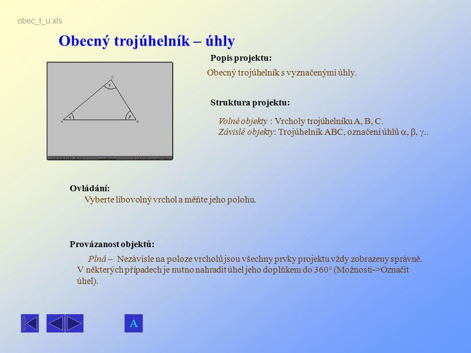 Obecný trojúhelník – úhly Popis projektu: Obecný trojúhelník s vyznačenými úhly. Ovládání: Vyberte libovolný vrchol a měňte jeho polohu. Volné objekty