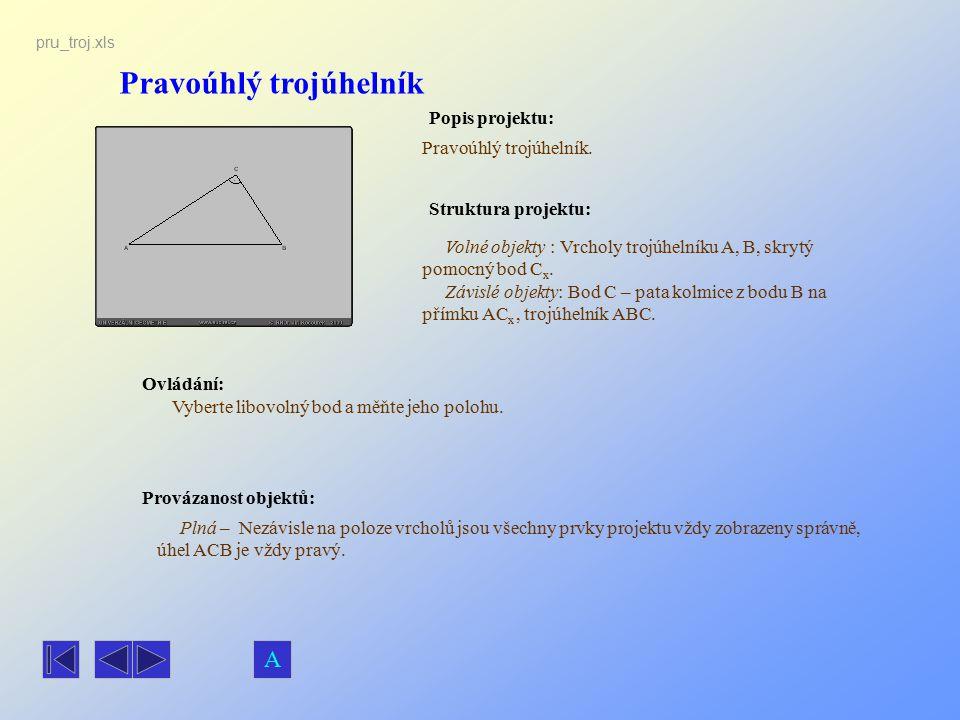 Pravoúhlý trojúhelník Popis projektu: Pravoúhlý trojúhelník. Ovládání: Vyberte libovolný bod a měňte jeho polohu. Volné objekty : Vrcholy trojúhelníku
