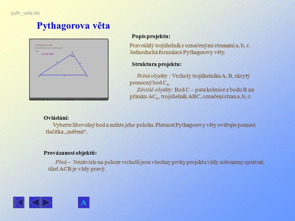 Pythagorova věta Popis projektu: Pravoúhlý trojúhelník s označenými stranami a, b, c. Jednoduchá formulace Pythagorovy věty. Ovládání: Vyberte libovol