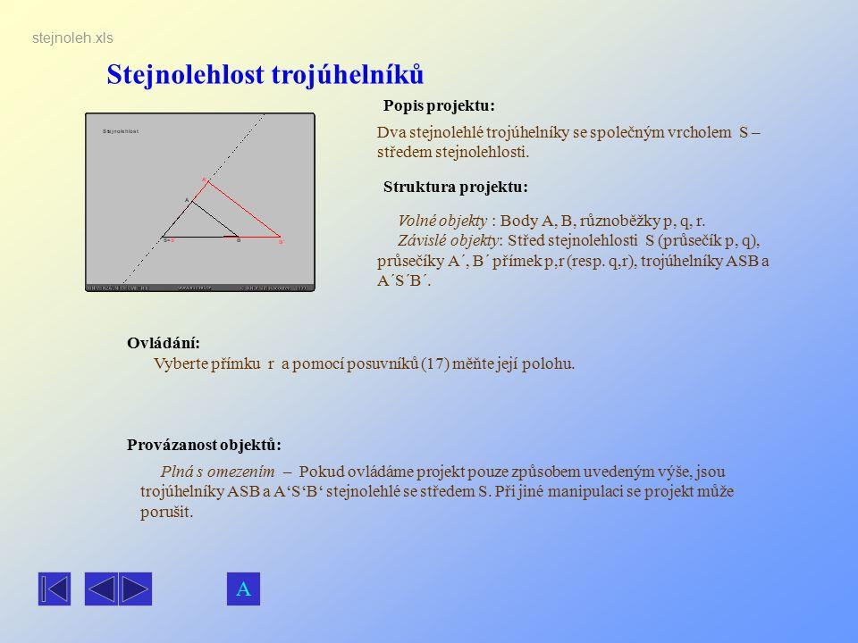 Stejnolehlost trojúhelníků Popis projektu: Dva stejnolehlé trojúhelníky se společným vrcholem S – středem stejnolehlosti. Ovládání: Vyberte přímku r a