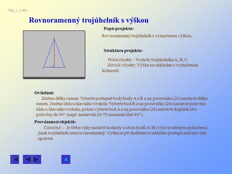 Rovnoramenný trojúhelník s výškou Popis projektu: Rovnoramenný trojúhelník s vyznačenou výškou. Ovládání: Volné objekty : Vrcholy trojúhelníku A, B, C