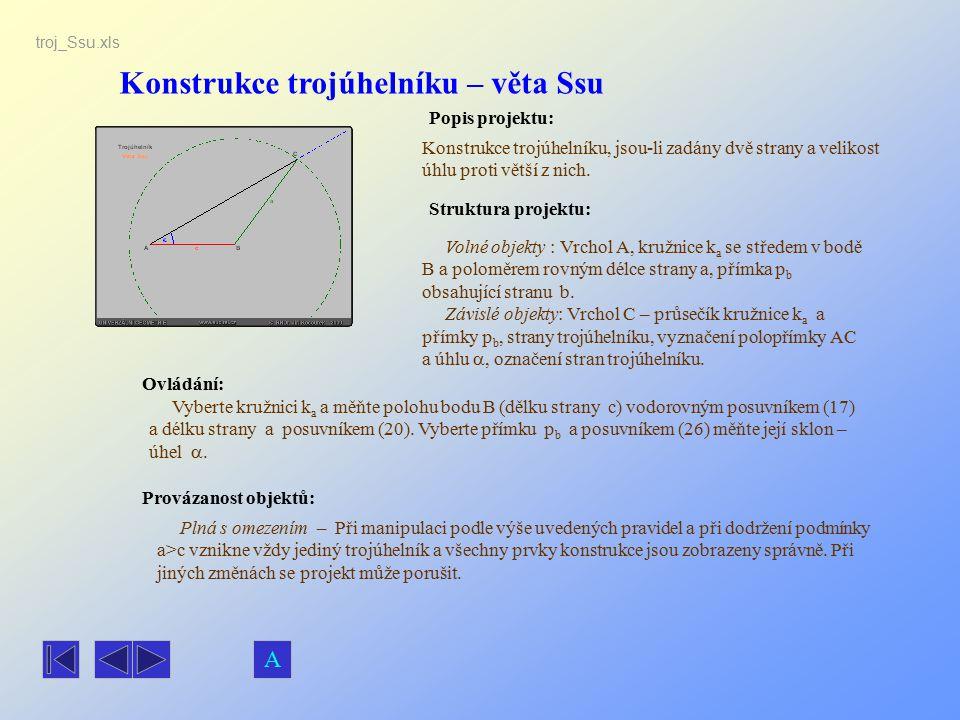 Konstrukce trojúhelníku – věta Ssu Popis projektu: Ovládání: Struktura projektu: Provázanost objektů: Vyberte kružnici k a a měňte polohu bodu B (dělk