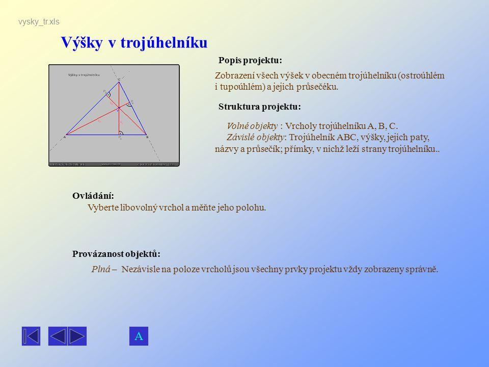 Výšky v trojúhelníku Popis projektu: Ovládání: Struktura projektu: Provázanost objektů: vysky_tr.xls Zobrazení všech výšek v obecném trojúhelníku (ost
