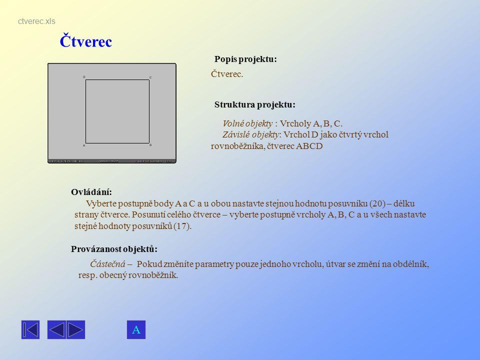 Čtverec Popis projektu: Ovládání: Struktura projektu: Provázanost objektů: ctverec.xls Čtverec. Volné objekty : Vrcholy A, B, C. Závislé objekty: Vrch