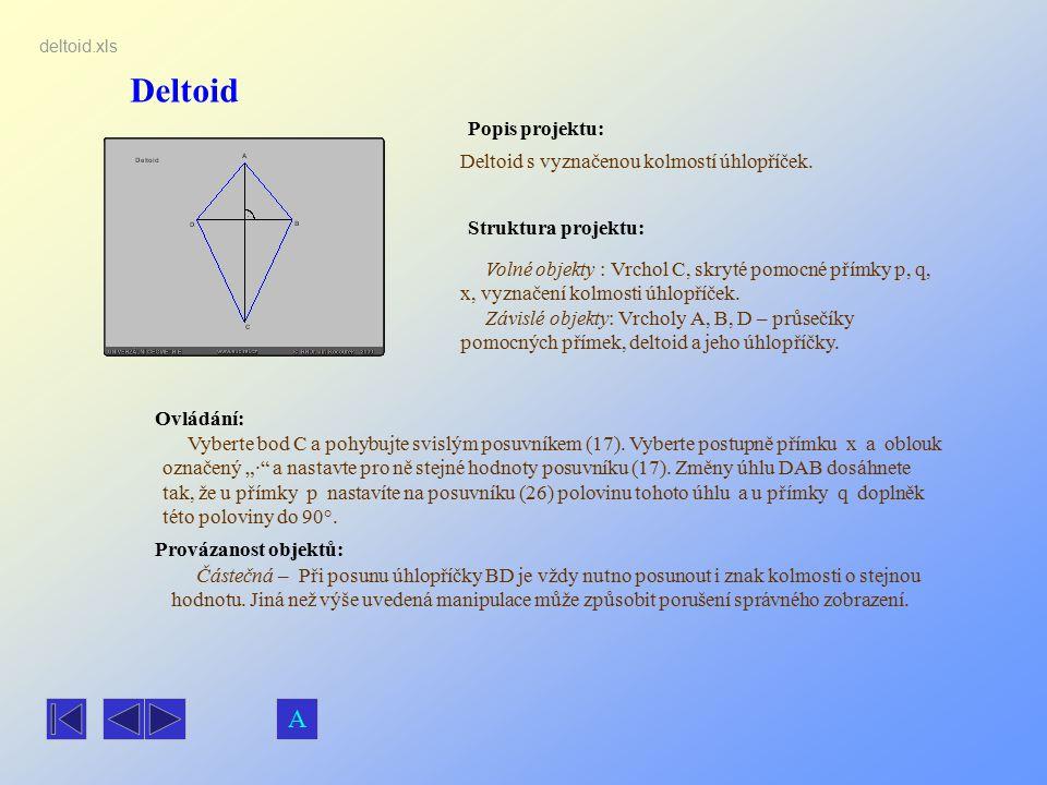 Deltoid Popis projektu: Ovládání: Struktura projektu: Provázanost objektů: deltoid.xls Deltoid s vyznačenou kolmostí úhlopříček. Volné objekty : Vrcho