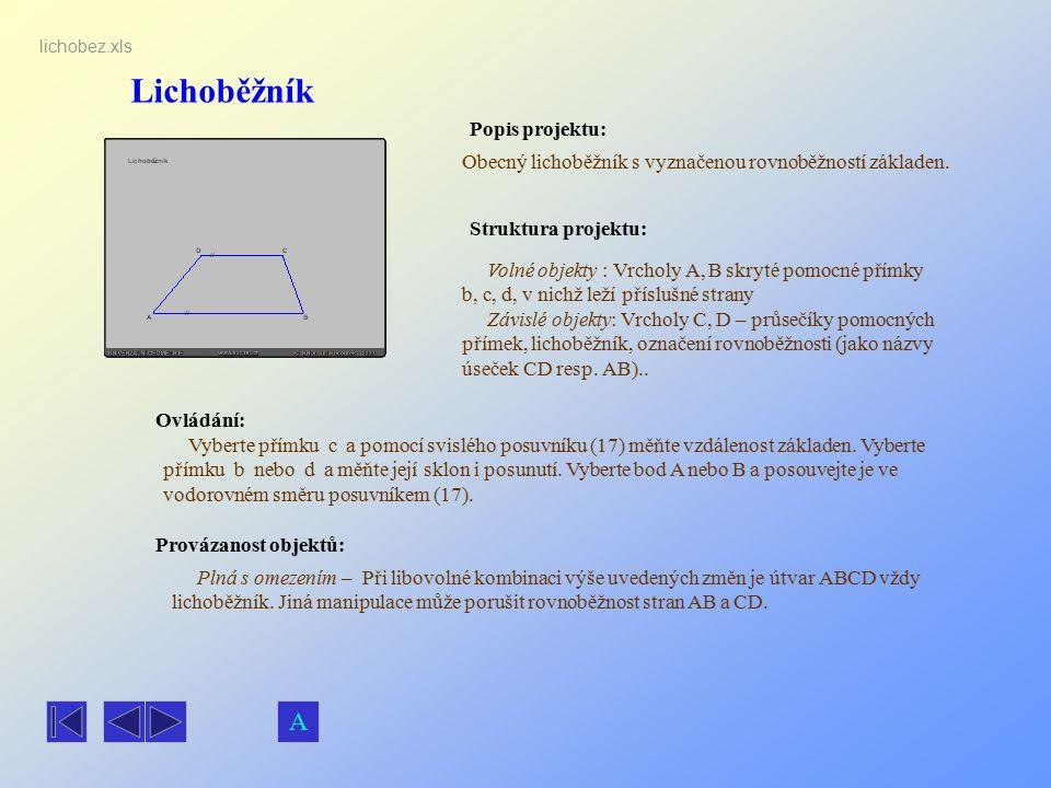 Lichoběžník Popis projektu: Ovládání: Struktura projektu: Provázanost objektů: lichobez.xls Obecný lichoběžník s vyznačenou rovnoběžností základen. Vo