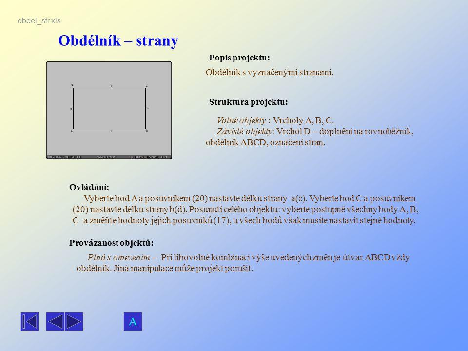 Obdélník – strany Popis projektu: Ovládání: Struktura projektu: Provázanost objektů: obdel_str.xls Obdélník s vyznačenými stranami. Volné objekty : Vr