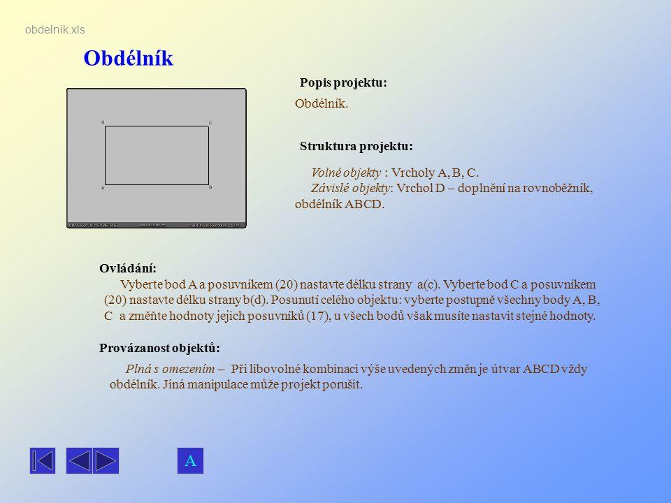 Obdélník Popis projektu: Ovládání: Struktura projektu: Provázanost objektů: obdelnik.xls Obdélník. Volné objekty : Vrcholy A, B, C. Závislé objekty: V