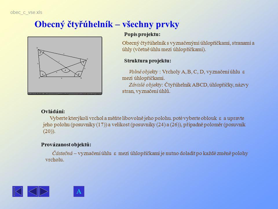 Obecný čtyřúhelník – všechny prvky Popis projektu: Ovládání: Struktura projektu: Provázanost objektů: obec_c_vse.xls Obecný čtyřúhelník s vyznačenými