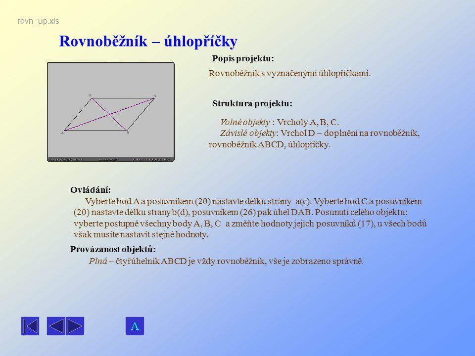 Rovnoběžník – úhlopříčky Popis projektu: Ovládání: Struktura projektu: Provázanost objektů: rovn_up.xls Rovnoběžník s vyznačenými úhlopříčkami. Plná –