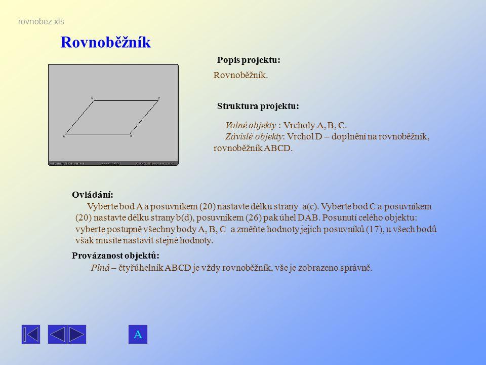 Rovnoběžník Popis projektu: Ovládání: Struktura projektu: Provázanost objektů: rovnobez.xls Rovnoběžník. Volné objekty : Vrcholy A, B, C. Závislé obje
