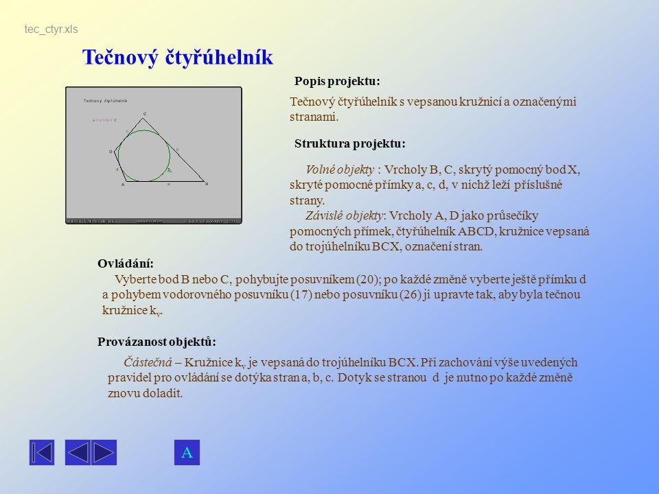 Tečnový čtyřúhelník Popis projektu: Ovládání: Struktura projektu: Provázanost objektů: tec_ctyr.xls Tečnový čtyřúhelník s vepsanou kružnicí a označený