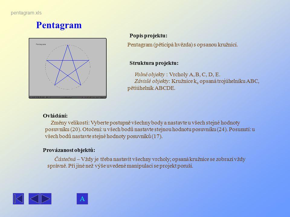 Pentagram Popis projektu: Ovládání: Struktura projektu: Provázanost objektů: pentagram.xls Pentagram (pěticípá hvězda) s opsanou kružnicí. Částečná –