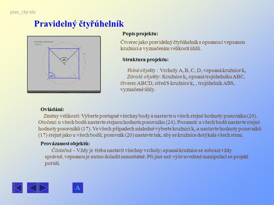 Pravidelný čtyřúhelník Popis projektu: Ovládání: Struktura projektu: Provázanost objektů: prav_ctyr.xls Čtverec jako pravidelný čtyřúhelník s opsanou