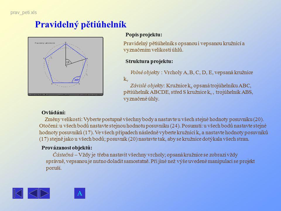 Pravidelný pětiúhelník Popis projektu: Ovládání: Struktura projektu: Provázanost objektů: prav_peti.xls Pravidelný pětiúhelník s opsanou i vepsanou kr
