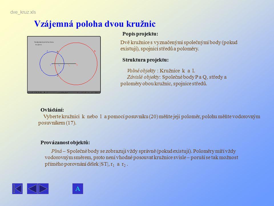 Vzájemná poloha dvou kružnic Popis projektu: Ovládání: Struktura projektu: Provázanost objektů: dve_kruz.xls Dvě kružnice s vyznačenými společnými bod